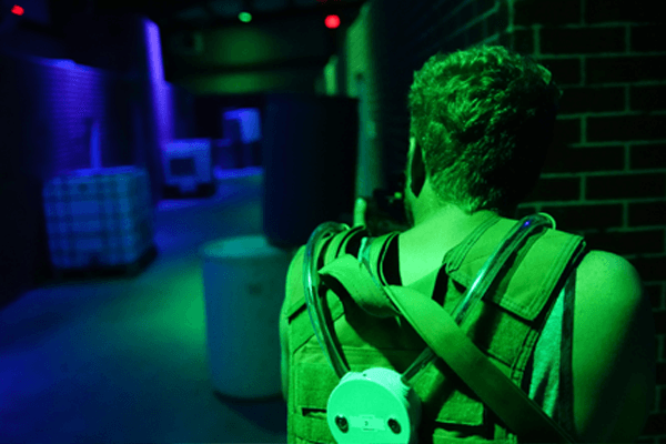 Player looking down the battlefield over laser tagger