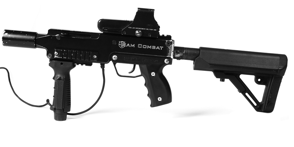 Military grade, replica weight laser tag tagger with optical scope adjustable stock and recoil imitation