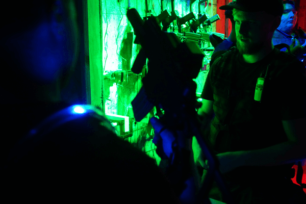 Player getting equipped for laser combat